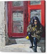 Girl Sitting At Red Doorstep Canvas Print