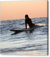 Surfer Girl Trying To Catch A Wave Canvas Print