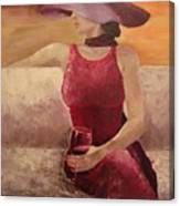 Girl With A Glass Canvas Print