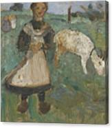 Girl With A Goat  Canvas Print