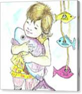 Girl With A Toy-fish Canvas Print