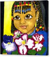 Girl With African Violet Canvas Print