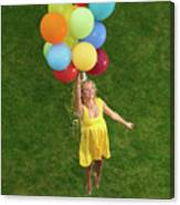 Girl With Air Balloons Canvas Print
