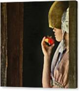 Girl With Apple Canvas Print