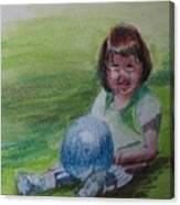 Girl With Ball Canvas Print