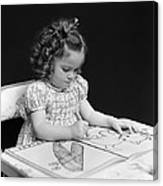 Girl With Coloring Book, C.1960-40s Canvas Print