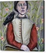 Girl WIth Crow Canvas Print