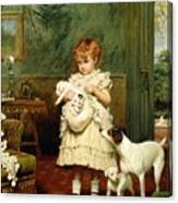 Girl With Dogs Canvas Print