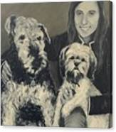 Girl With Dogs In Black And White Canvas Print