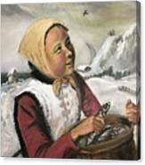 Girl With Fish Basket Canvas Print