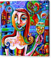 Girl With Glass Of Chardonnay Canvas Print