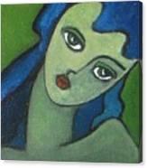 Girl With Green Eye Canvas Print