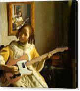 Girl With Guitar Canvas Print