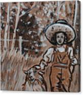 Girl With Hat And Dog Historical Vignette Canvas Print