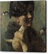 Girl With Lamb In Her Arms Canvas Print