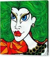 Girl With Lush Green Hair. Canvas Print