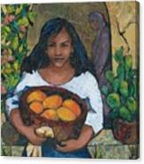 Girl With Mangoes Canvas Print