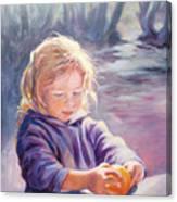 Girl With Orange Canvas Print