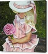 Girl With Rose Canvas Print