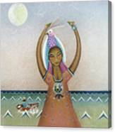 Girl With Sea Canvas Print