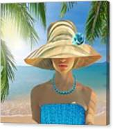 Girl With Summer Hat Canvas Print