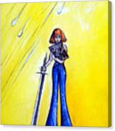 Girl With Sword. Astral Traveler Canvas Print