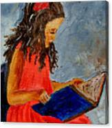 Girl With The Book Canvas Print