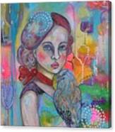Girl with Nicobar bird Original Canvas Painting Canvas Print
