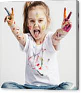 Girl With Victory Sign Sticking Out Her Tounge Canvas Print