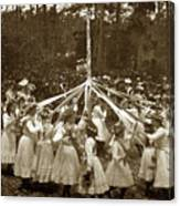 Girls  Doing The Maypole Dance Pacific Grove Circa 1890 Canvas Print