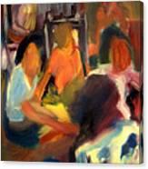 Girls Meeting Canvas Print