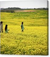 Girls Walking In The Field Canvas Print