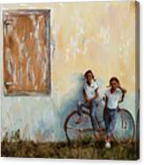 Girls With A Bike Canvas Print