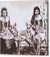 Girls With Pronghorn Fawns Historical Vignette From River Mural Canvas Print