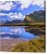 Glacier Lake On The Milford Track Canvas Print