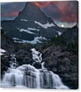 Glacier Morning Waterfall And Moonset Canvas Print