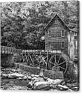 Glade Creek Grist Mill 2 Bw Canvas Print