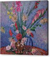 Gladiolas And Dahlias Canvas Print