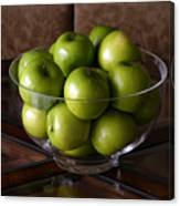 Glass Bowl Of Green Apples  Canvas Print