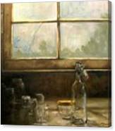 Glass Jars By Window Canvas Print