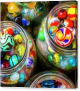 Glass Marbles In Containers Canvas Print