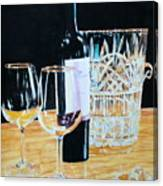 Glass Wood And Light And Wine Canvas Print