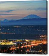 Glenn L Jackson Bridge And Mount Saint Helens After Sunset Canvas Print
