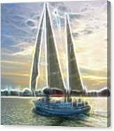 Glimmering Sailboat Canvas Print