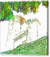 Glimpse Of The Castle Walls And Towers Canvas Print