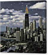 Glittering Chicago Christmas Tree Canvas Print