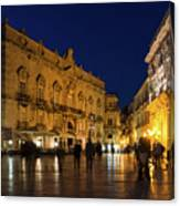 Glossy Outdoor Living Room - Passeggiata On Piazza Duomo In Syracuse Sicily Canvas Print