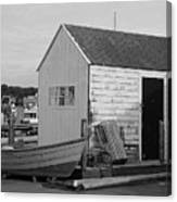 Gloucester Boathouse In Black And White Canvas Print