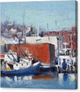 Gloucester Harbor In Winter Canvas Print