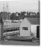 Gloucester Harbor Scene In Black And White Canvas Print